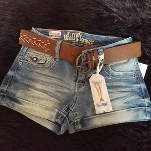 Short Denim Shorts with Belt NWT